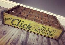 """Super Rare Vintage 1950's Drink Click """"Its a Quick Pick Up"""" Wood Soda Pop Crate"""