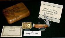 "Schrade DS2 Knife & Stamp Set 1988-89 USA 3-7/8"" W/Presentation Case & Papers"