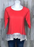 Umgee Women's Lace Trim Coral 3/4 Sleeve Top Blouse BOHO Size Small