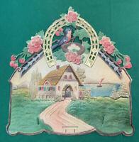 Vintage West Germany Embossed Die Cut Horseshoe Lake Cottage Blue Bird Calendar