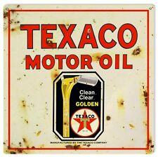 Reproduction Texaco Golden Motor Oil Sign 16X16