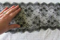 "Antique French Beautiful Black Length Flower Bouquet Chantilly Lace 3ft 4"" c1890"