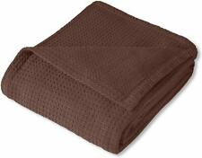 "Nice Woven King Blanket Basket Weave Knit Brown Cotton 108"" x 90"" Luxury Blanket"