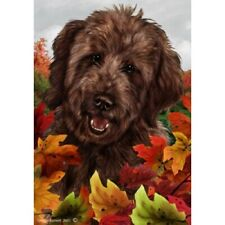 Fall House Flag - Chocolate Goldendoodle 13269