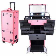 Pink Rolling Makeup Artist Travel Case Trolley Professional Hair Stylist Wheels