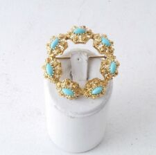 18k gold 80's victorian style turquoise yellow gold ornate brooch 9.5g