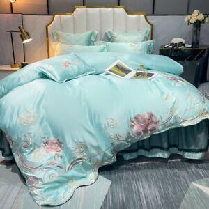4pcs Bedding Set Luxury Embroidery Pima Cotton Duvet Set Flat Sheet Pillowcases