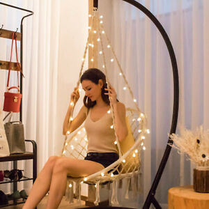 Hanging Hammock Chair Seat Swing 39FT With LED Lights Indoor Outdoor 330 lbs