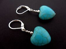 A PAIR OF TURQUOISE BLUE  SILVER PLATED HEART LEVERBACK HOOK  EARRINGS. NEW.