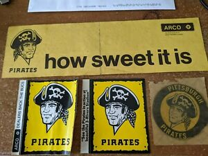 4 VINTAGE  ARCO 1970's PITTSBURGH PIRATES STICKERS DECALS