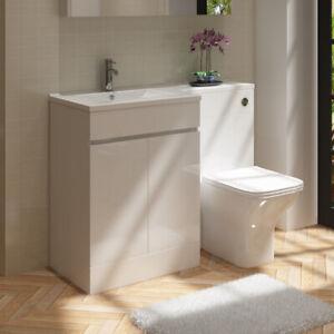 Bathroom Left Hand Combination Toilet Vanity Basin Sink Unit 1100mm Gloss White