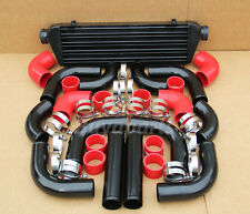 BLACK 2.5' INTERCOOLER+PIPING KIT RED COUPLER CLAMPS JETTA GOLF PASSAT 1.8T 2.8T