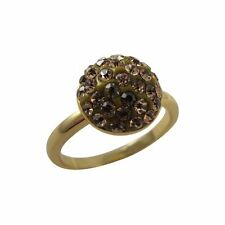 Champagne Shamballa Inspired Crystal Sterling Silver Gold Plated Ring (4)