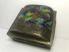 Chinese Brass Enamel Cascet Lid Dragon Box
