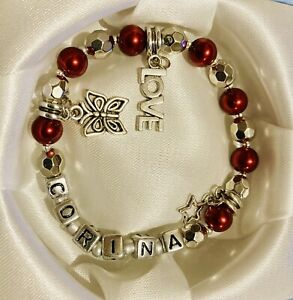 UK NEW Personalised Bracelet Any Name Charms Bling Sparkly Present Eid Gift