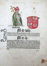 BOTHO CRONECKEN DER SASSEN BISCHOF WALDEMAR SCHLESWIG SCHÖFFER MAINZ 1492 #T3