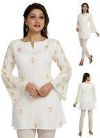Women Indian Ethnic Top Kurti Tunic Kurta Shirt Dress White Cotton EASHITA17D