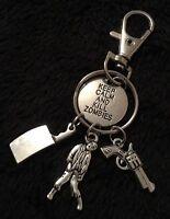 Zombie Charm Key Chain Keyring The Walking Dead Gun Rick Grimes Pendant Clip
