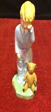 "Htf Vintage Artone ""Sleepyhead"" Bone China Figurine Blonde Boy Girl Teddy Bear"