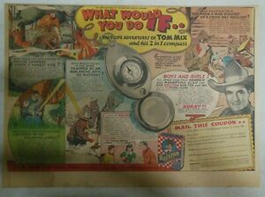 """Ralston Cereal Ad: Tom Mix """"2 in 1 Compass"""" Premium 1937 Size:11 x 15 inches"""
