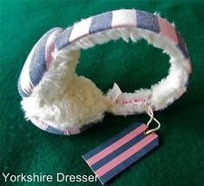 New JACK WILLS 'Shalford' Pink Blue Stripe Sherpa Fleece dress Designer EARMUFFS