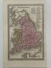 1834 ENGLAND & WALES HAND COLOURED ANTIQUE MAP BY CARY & LEA