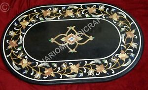 4'x2' Black Marble Top Dining Table Rare Marquetry Inlay Indoor Decor E836D