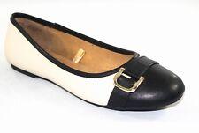 White Mt. Women's Beige & Black Slip On Ballet Flats Dress Shoes Size 8.5M