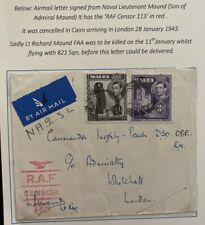 1942 Malta RAF Censored Airmail Cover To London England