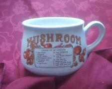 Vintage Retro Ceramic Soup Mug mushroom Soup Recipe Bowl free uk p&p