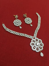 Ethnic Indian Bollywood CZ Gold Plated Fashion Jewelry Necklace Set