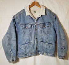BENETTON Vintage Mens Denim Jacket Sherpa Lining Sz 48 Distressed/Strains* A2270