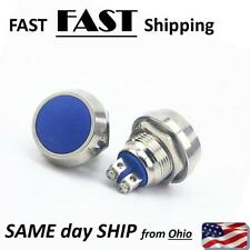 BLUE momentary push button switch - self return 2 wire button switch round