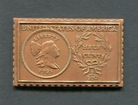1795 United States Liberty Cap 1/2 Half Cent Numistamp Medal 1976 Mort Reed