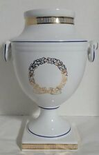 "Vintage 10 1/2"" White Porcelain Vase Urn Portugal White & Gold, Blue Trim"