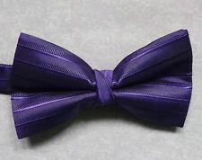 "NUOVO Lusso Papillon Da Uomo Papillon Scintillante design a righe viola scuro 14"" - 21.5"""