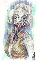MARILYN MONROE ZOMBIE ORIGINAL ART * SCOTT BLAIR