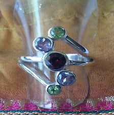 596 Garnet/Amethyst/Peridot solid 925 sterling silver ring 5 gems sz N/7 rrp $90