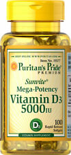 Puritan's Pride Vitamin D3 5000 IU 100 Softgels Mega Potency Bones Supplement