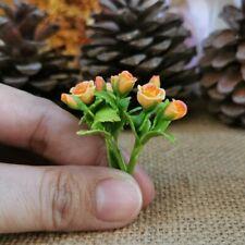 3 Clay Orange Rose Flowers Bouquets Dollhouse Miniature Handmade Flowers Decor