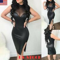 Women PVC Leather Mini Dress Latex Wet Look Bodycon Lingerie Mesh Skirt Clubwear