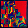 "Red Picasso Paint Scarf  Women's Head Print Square Fashion Satin Shawl 35""*35"""