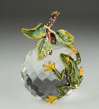 Frog climb on crystal trinket box by Keren Kopal with Austrian Crystal