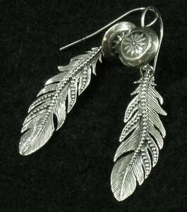 """Circle of Life Concho .925 Sterling Silver Intricate Feather Dangle Earrings 2"""""""