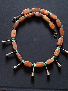 Idar Oberstein Ancient Carnelian & Naga Brass Horns & Russian Amazonite Necklace