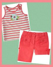 "Nwt Girls 9 Gymboree ""Tropical Garden� Cotton Coral Safari Shorts & Tank Top 2pc"