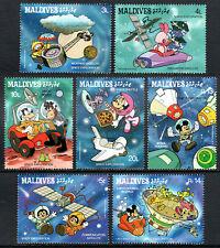 Maldives 1273-1279, Mnh. Disney Characters, Space Exploration, 1988