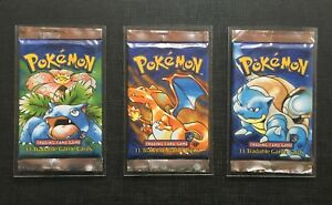 Pokemon English 1st Edition Base Set Shadowless - Artset 3 packs - 1 pack HEAVY