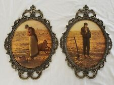 """Vintage Farmer Man and Woman Framed Prints """"Made In Italy"""" Set Of 2"""