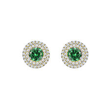 1.25CT Emerald MAY BIRTHSTONE 14K Gold Over Stud Earrings Special Day Gift